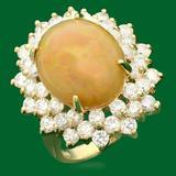 14k Gold 6.80ct Opal 2.72ct Diamond Ring