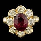 14k Yellow Gold 3.00ct Ruby 1.50ct Diamond Ring