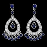 14k Gold 3.00ct Sapphire 1.50ct Diamond Earrings