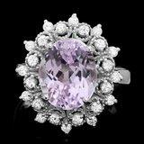 14k White Gold 4.50ct Kunzite 0.55ct Diamond Ring