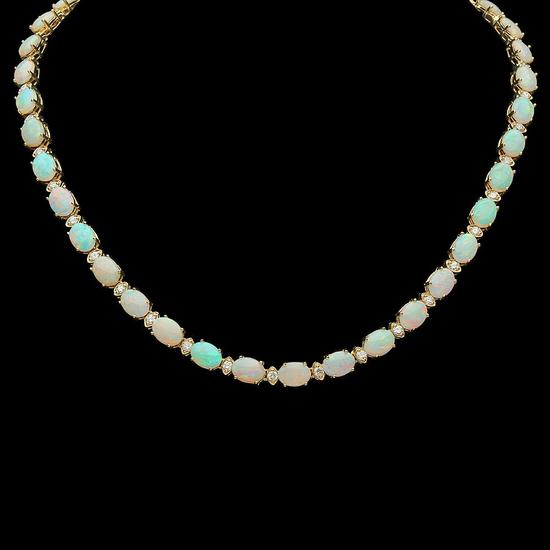 14K Gold 24.51ct Opal 2.24ct Diamond Necklace
