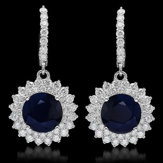 14K Gold 8.12ct Sapphire 2.89ct Diamond Earrings