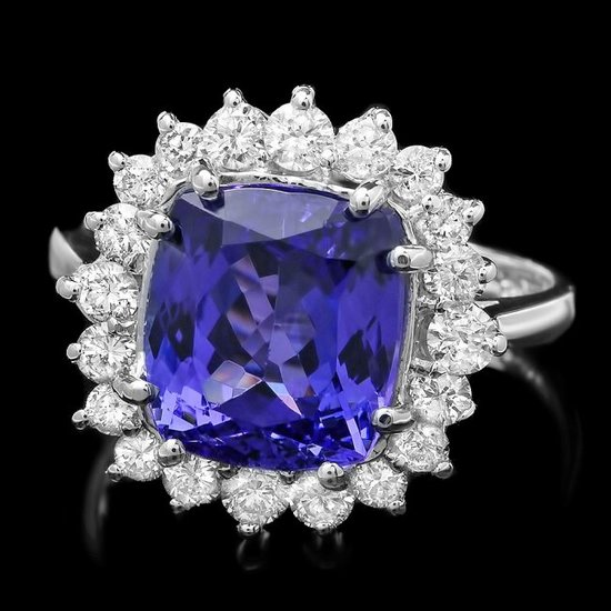14k Gold 5.00ct Tanzanite 0.85ct Diamond Ring