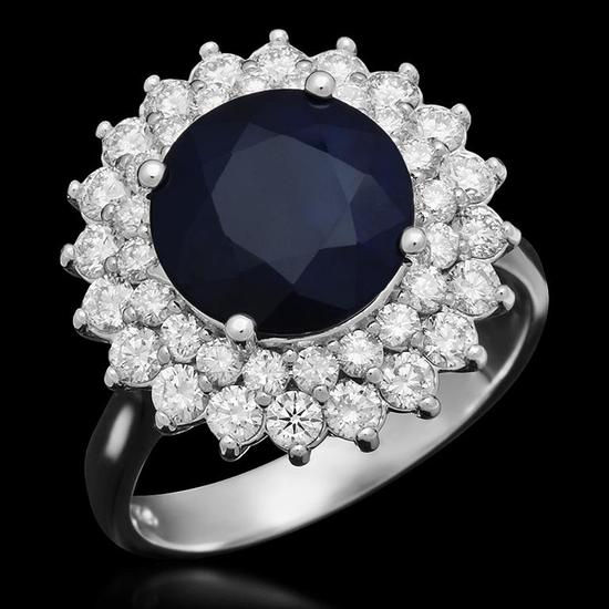 14K Gold 3.48ct Sapphire 1.12ct Diamond Ring