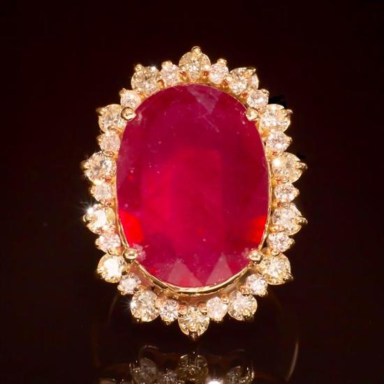 14K Gold 14.81ct Ruby 2.10ct Diamond Ring