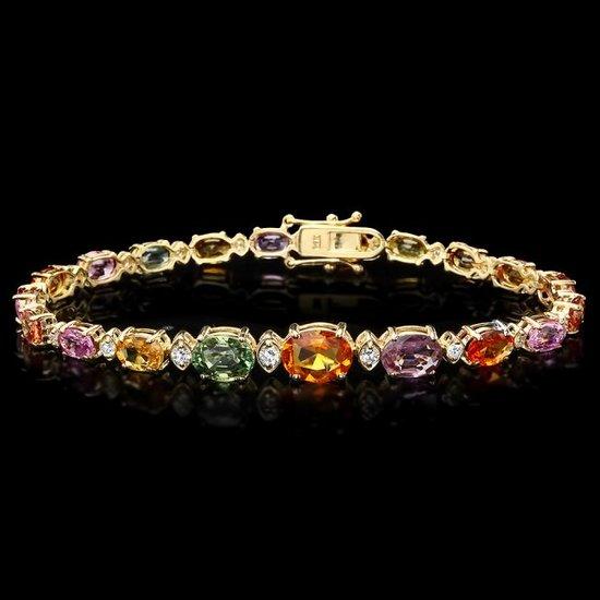 14k Gold 15.79ct Sapphire 0.74ct Diamond Bracelet