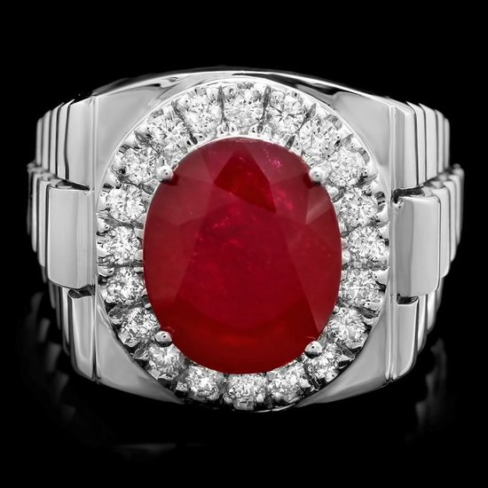 14k White Gold 10.00ct Ruby 0.80ct Diamond Ring