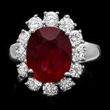 14k White Gold 4.80ct Ruby 1.40ct Diamond Ring