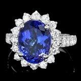 18k Gold 7.00ct Tanzanite 1.50ct Diamond Ring