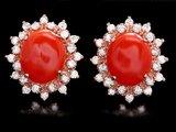14k Rose 6.00ct Coral 1.40ct Diamond Earrings