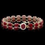 14k Gold 53.00ct Ruby 0.50ct Diamond Bracelet