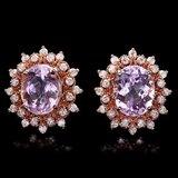 14k Rose 9.00ct Kunzite 1.20ct Diamond Earrings