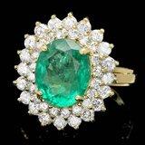 14k Gold 3.50ct Emerald 1.50ct Diamond Ring