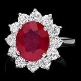 14k White Gold 4.50ct Ruby 1.75ct Diamond Ring