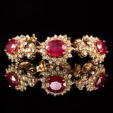 14K Gold 26.24ct Ruby 6.81ct Diamond Bracelet
