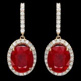 14k Gold 13.00ct Ruby 1.50ct Diamond Earrings