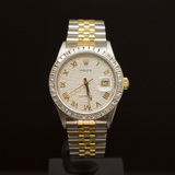 Rolex Two-Tone Datejust 36mm Custom Silver Jubeele Dial with Gold Roman Numerals, Bezel 2.25ct Men's