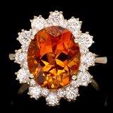 14k Gold 4.50ct Citrine 1.35ct Diamond Ring