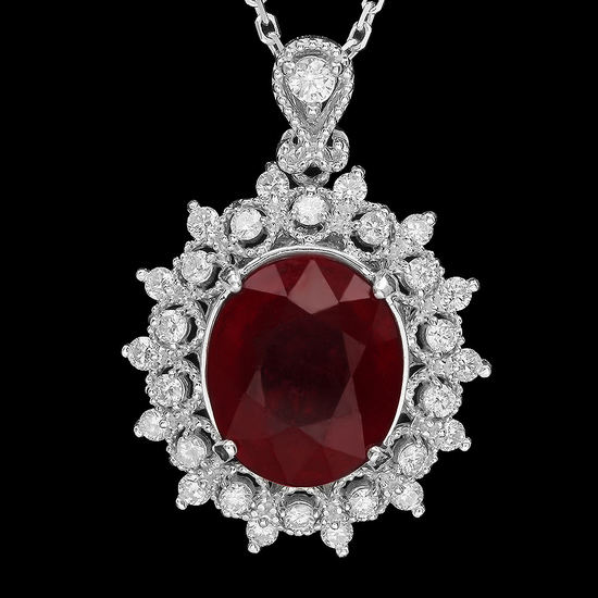 14K Gold 7.08ct Ruby 0.65ct Diamond Pendant
