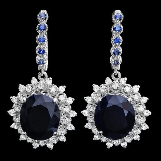 14k Gold 18.5ct Sapphire 1.50ct Diamond Earrings
