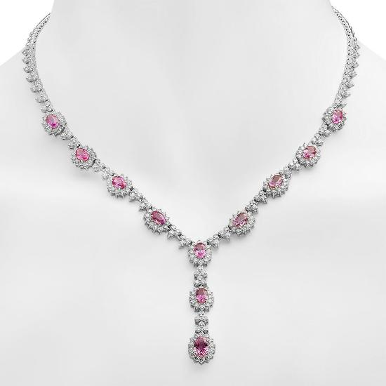 18K Gold 7.65ct Pink Sapphire 7.35ct Diamond Necklace