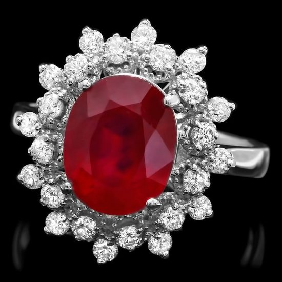 14k White Gold 4.35ct Ruby 0.7ct Diamond Ring