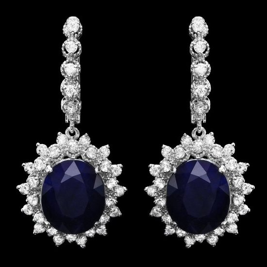 14k Gold 15.00ct Sapphire 2.00ct Diamond Earrings
