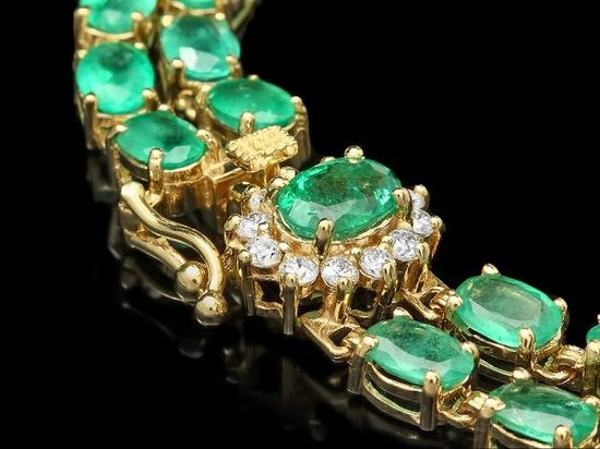 14k Gold 18ct Emerald 0.40ct Diamond Bracelet