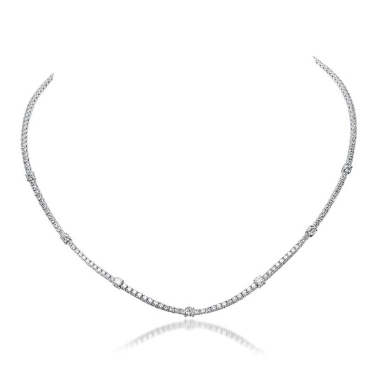 18K White Gold 9.53cts. Diamond Necklace