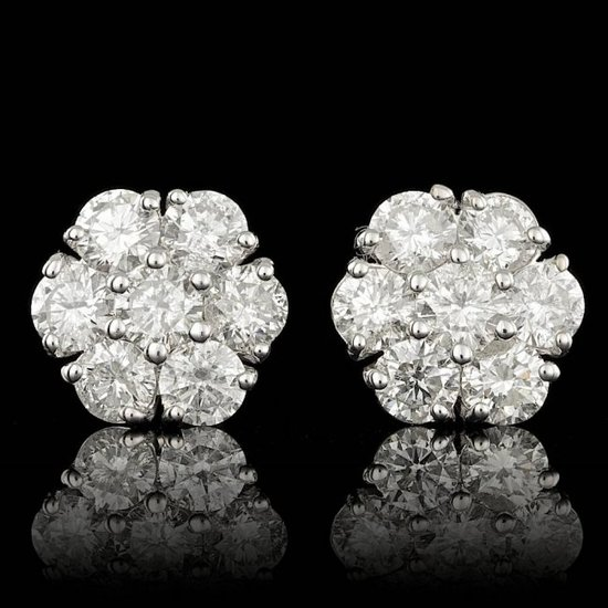 14k White Gold 2.85ct Diamond Earrings