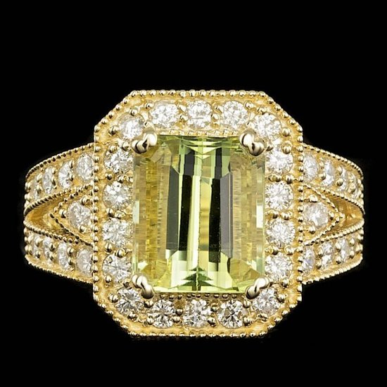 14k Yellow Gold 4.00ct Beryl 1.30ct Diamond Ring