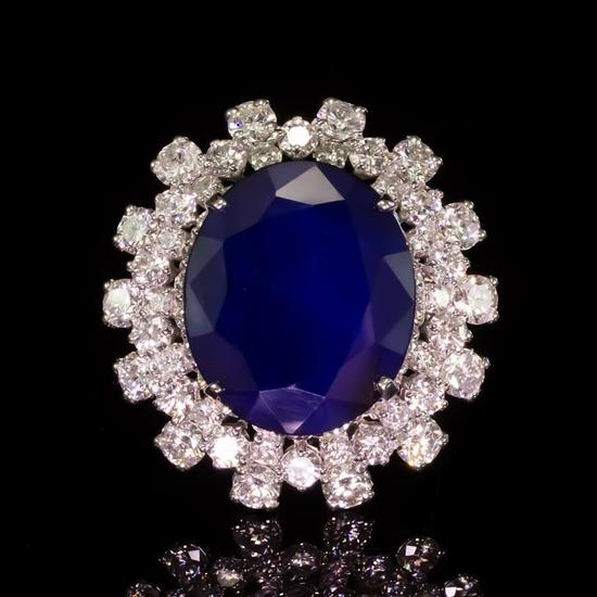 14K Gold 12.29ct Sapphire 3.85ct Diamond Ring