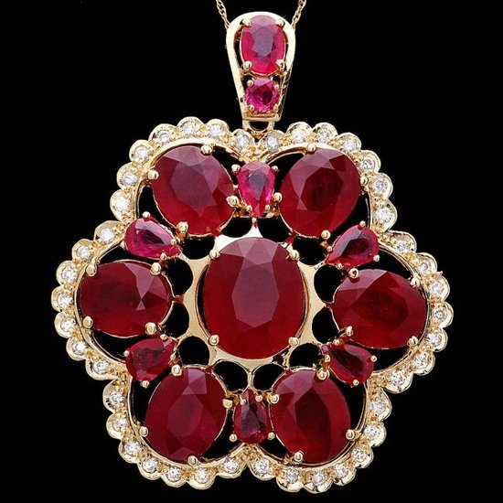 14k Yellow Gold 37ct Ruby 0.90ct Diamond Pendant
