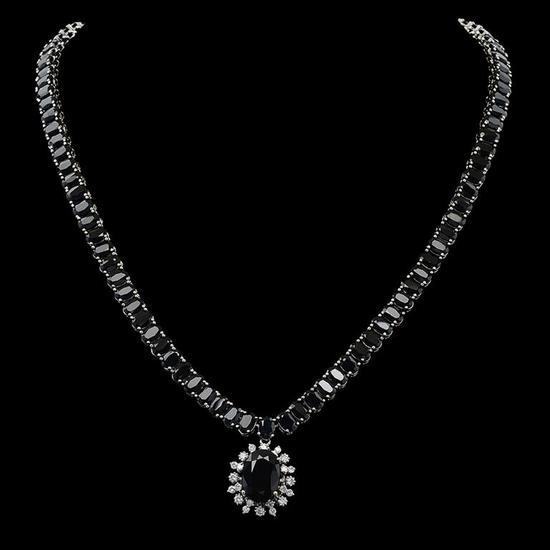 14K Gold 66.92ct Sapphire 0.90ct Diamond Necklace