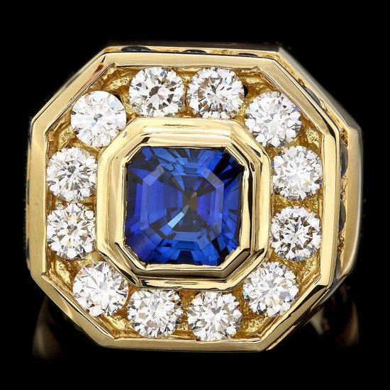 18k Gold 7.5ct Sapphire 3.20ct Diamond Mens Ring