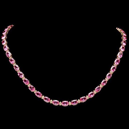 14k Gold 38ct Sapphire 1.7ct Diamond Necklace