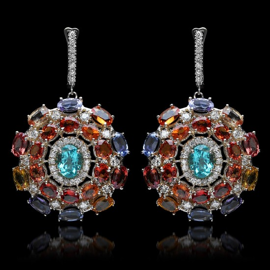 14K White Gold with 3.15cts. Apatite, 26.82cts. Sapphire & 4.87cts.Diamond Earrings