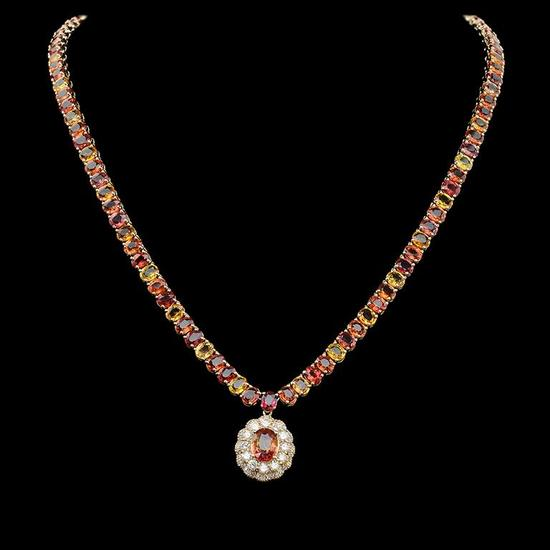 14K Gold 45.40ct Multi-Color Sapphire 1.45ct Diamond Necklace
