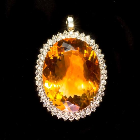 14K Gold 48.56ct Citrine 3.12ct Diamond Pendant