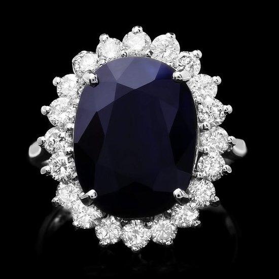 14k Gold 7.30ct Sapphire 1.30ct Diamond Ring