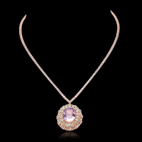 14K Rose Gold, 17.80cts Kunzite, 11.65cts Diamond Necklace