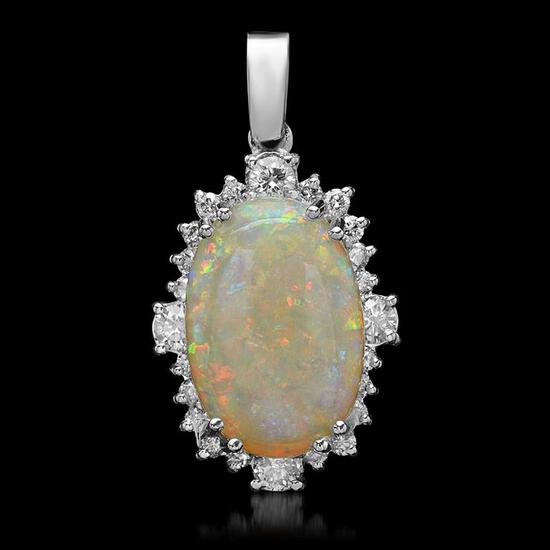 14K Gold 5.87ct Opal 1.11ct Diamond Pendant