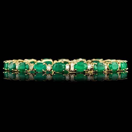 14k Gold 14.00ct Emerald 1.00ct Diamond Bracelet