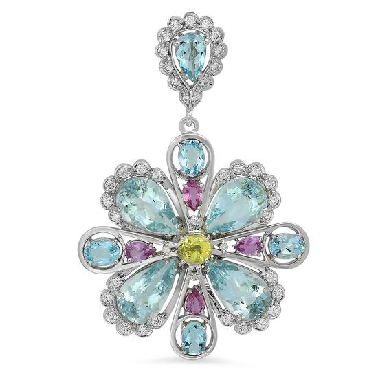 14K Gold 20.22ct Aquamarine 3.00ct Sapphire 1.48ct Diamond Pendant