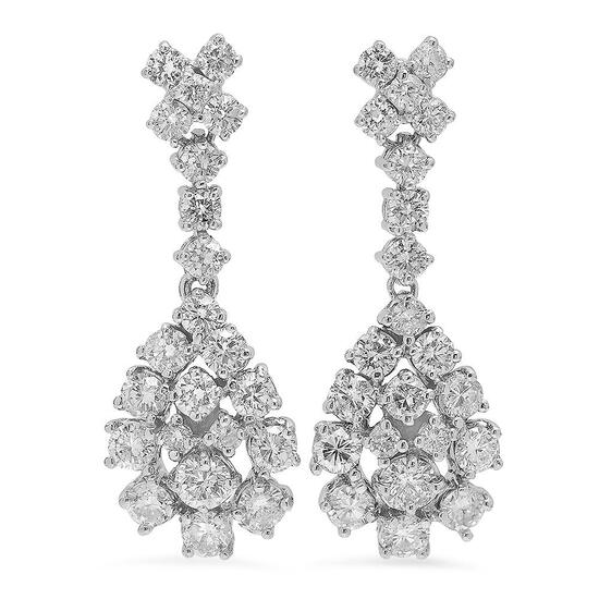 14K Gold 3.07ct Diamond Earrings