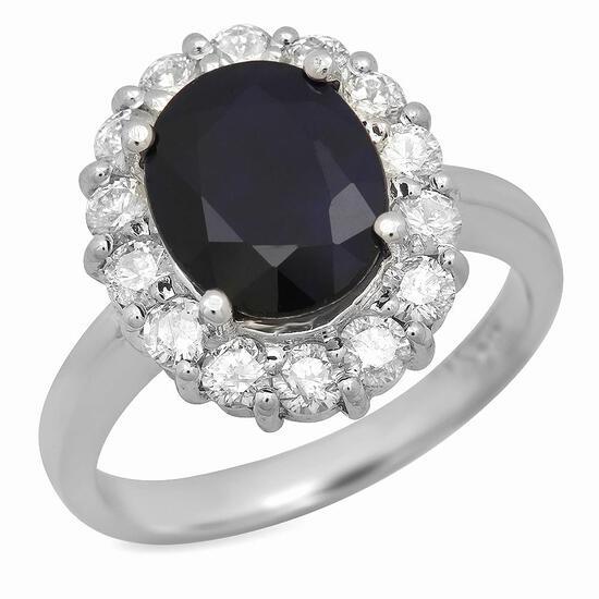 14K Gold 3.12ct Sapphire 0.94ct Diamond Ring