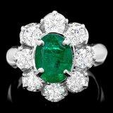 14k White Gold 3.00ct Emerald 1.90ct Diamond Ring