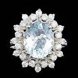 14k Gold 3.00ct Aquamarine 0.75ct Diamond Ring
