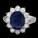 14k Gold 3.00ct Sapphire 0.90ct Diamond Ring