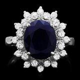 14k Gold 4.00ct Sapphire 0.70ct Diamond Ring